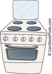 otthon, kályha, karikatúra, konyha