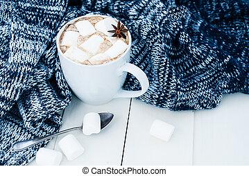 otthon, kényelmes, háttér, tél