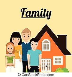 otthon, kép, építészet, család