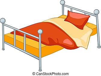 otthon, karikatúra, ágy, berendezés
