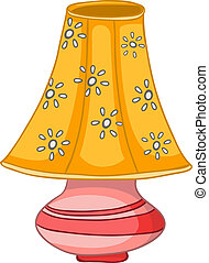 otthon, lámpa, karikatúra