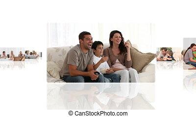 otthon, montázs, gyerekek, birtoklás, -eik, szülők, móka