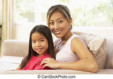 otthon, pamlag, lány, bágyasztó, anya