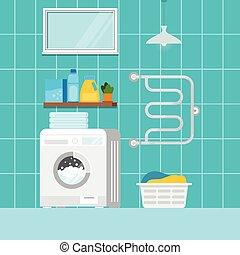 otthon, scene., belső, gép, mosoda, mosás