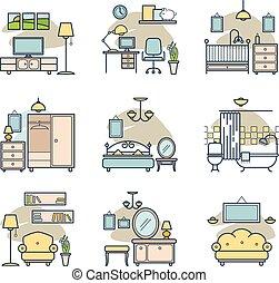 otthon, set., szoba, ikonok