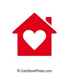 otthon, szív, ikon