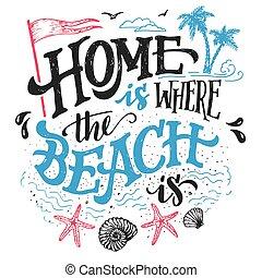 otthon, tengerpart, hol, nyomdászat, ábra