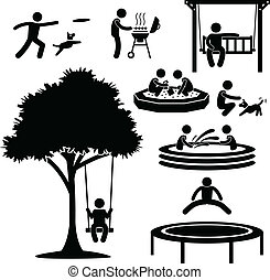 otthon, udvar, elfoglaltság, pictogram
