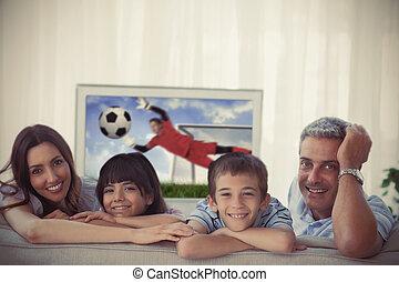 otthon, világbajnokság, kiállítás, televízió, mosolygós, fényképezőgép, pamlag, család