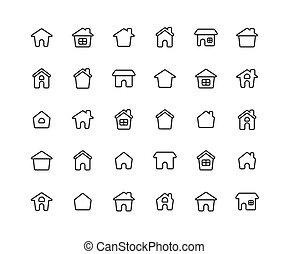 ouline, állhatatos, háttér., otthon, fehér, ikon