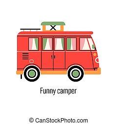 out-of-town, ábra, színes, vektor, autó., mozgatható, camper., recreation., elszigetelt, háttér, saját megvendégelés, pihenés, külső