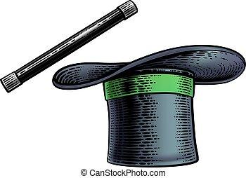 pálca, varázslatos, tető, varázsló, fametszet, rajz, kalap