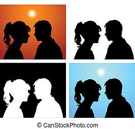 pár, körvonal, szerelmes pár