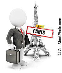 párizs, fehér, 3, emberek