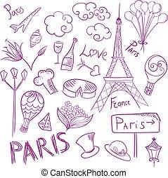 párizs, jelkép, skicc, vektor, állhatatos