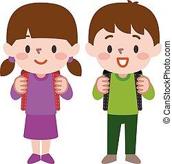 párosít, ábra, vektor, diák, diáklány, boldog, iskolásfiú