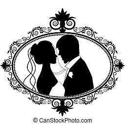 párosít, árnykép, esküvő