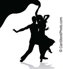 párosít, árnykép, tánc