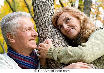 párosít, öreg, erdő, boldog