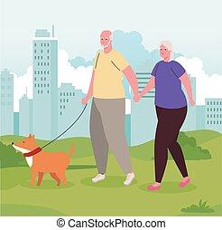párosít, öreg, gyalogló, külső, csinos, kutya