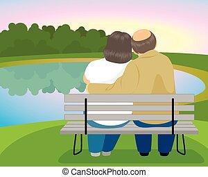 párosít, öregedő, bírói szék