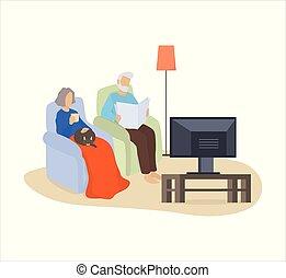 párosít, armchair., macska, őrzés, öregasszony, ülés