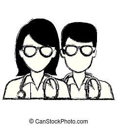 párosít, avatars, betűk, orvosok