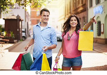 párosít, bevásárlás, fiatal, táska, város