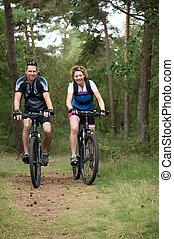 párosít, boldog, kerékpározás, természet