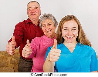 párosít, caregiver, fiatal, öregedő, boldog