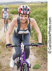 párosít, egészséges, hegy bicikli, nyom