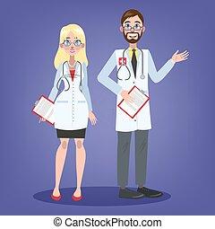 párosít, egyenruha, fiatal, orvosok