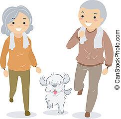párosít, -eik, stickman, gyalogló, idősebb ember, kutya
