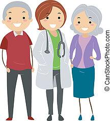 párosít, -eik, stickman, orvos, idősebb ember