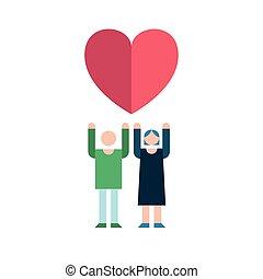 párosít, emelés, szerelmes pár, érzés, szeret szív, ikon