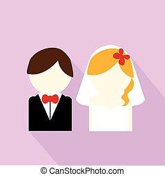 párosít, esküvő, ikon