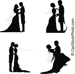 párosít, esküvő, körvonal