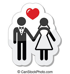 párosít, esküvő, sima, ikon, címke