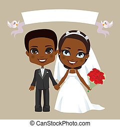párosít, fekete, esküvő