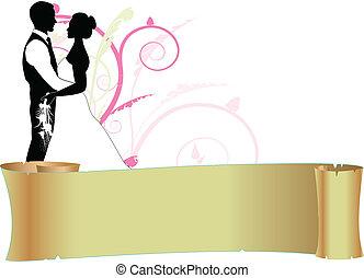 párosít, felcsavar, esküvő