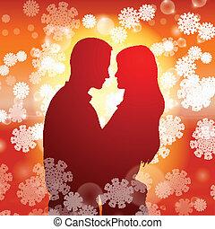 párosít, felett, hópihe, háttér, karácsony
