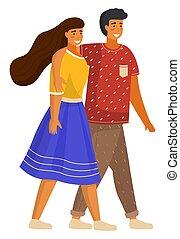 párosít, fiatal, ölelgetés, gyalogló, leány, póló, nadrág, női, ember, fárasztó, ing, alj, pasas