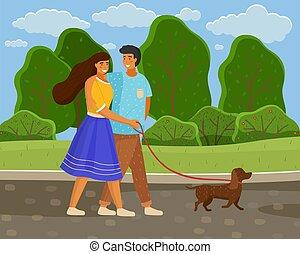 párosít, fiatal lány, mentén, szeret, út, kutya, szabad, wallking, nyár, liget, póráz, pasas
