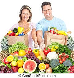 párosít, fruits., boldog