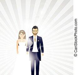 párosít, háttér, esküvő