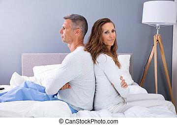 párosít, házas, ágy, kétségbeesés, ülés