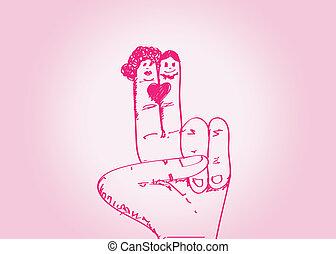 párosít, kéz, nyugat, esküvő, húzott, karikatúra