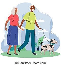 párosít, kedvenc, öreg, afrikai származású, hím jár, liget