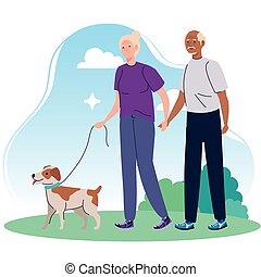párosít, kedvenc, öreg hím, gyalogló, liget