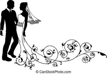 párosít, lovász, esküvő, menyasszony, árnykép